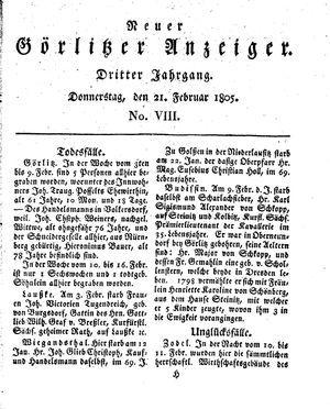 Neuer Görlitzer Anzeiger on Feb 21, 1805