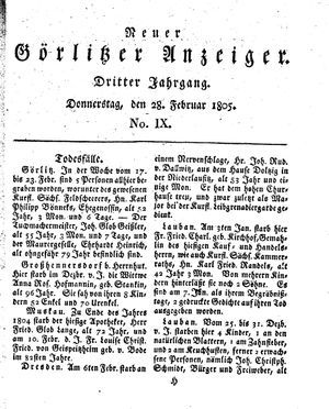 Neuer Görlitzer Anzeiger vom 28.02.1805