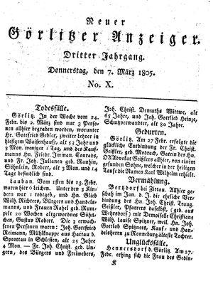 Neuer Görlitzer Anzeiger vom 07.03.1805