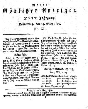 Neuer Görlitzer Anzeiger vom 14.03.1805