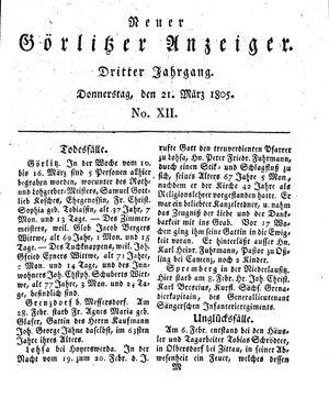 Neuer Görlitzer Anzeiger on Mar 21, 1805