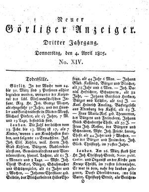 Neuer Görlitzer Anzeiger vom 04.04.1805