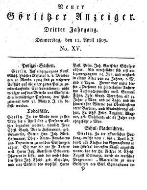 Neuer Görlitzer Anzeiger vom 11.04.1805