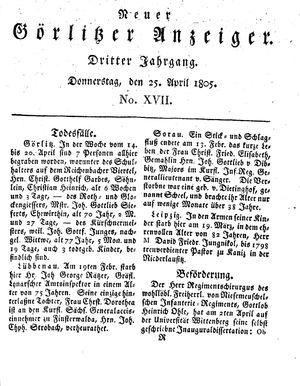 Neuer Görlitzer Anzeiger vom 25.04.1805