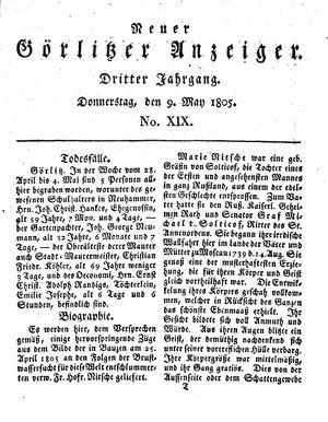 Neuer Görlitzer Anzeiger vom 09.05.1805