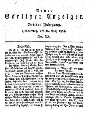 Neuer Görlitzer Anzeiger vom 16.05.1805