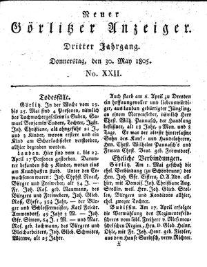 Neuer Görlitzer Anzeiger vom 30.05.1805