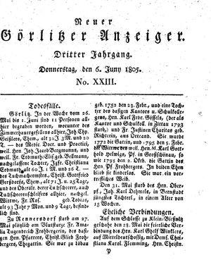 Neuer Görlitzer Anzeiger on Jun 6, 1805