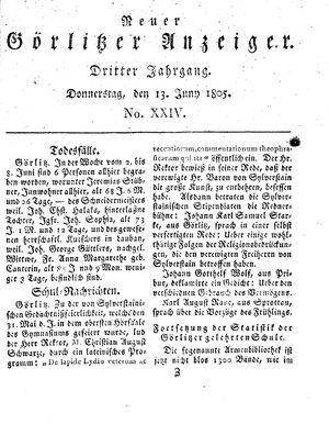 Neuer Görlitzer Anzeiger vom 13.06.1805
