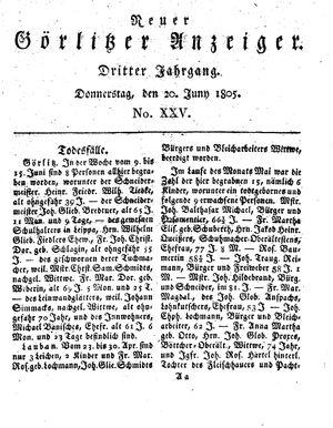 Neuer Görlitzer Anzeiger vom 20.06.1805