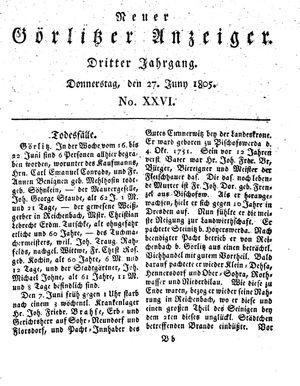 Neuer Görlitzer Anzeiger on Jun 27, 1805