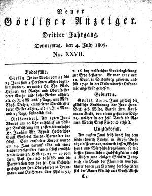 Neuer Görlitzer Anzeiger vom 04.07.1805