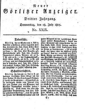 Neuer Görlitzer Anzeiger vom 18.07.1805