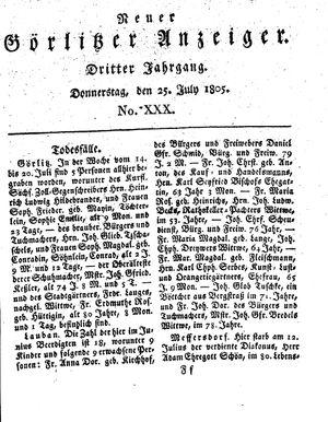 Neuer Görlitzer Anzeiger vom 25.07.1805