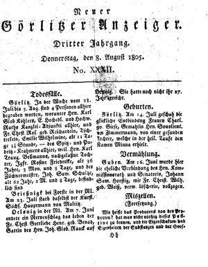 Neuer Görlitzer Anzeiger vom 08.08.1805