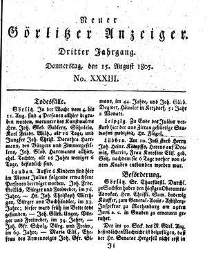 Neuer Görlitzer Anzeiger vom 15.08.1805