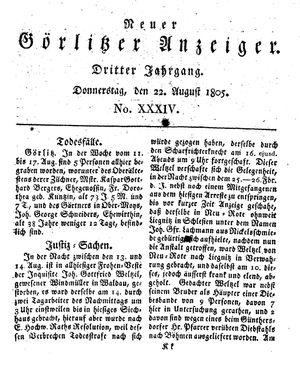 Neuer Görlitzer Anzeiger vom 22.08.1805