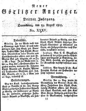 Neuer Görlitzer Anzeiger vom 29.08.1805