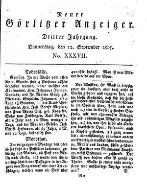 Neuer Görlitzer Anzeiger vom 12.09.1805