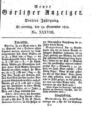 Neuer Görlitzer Anzeiger on Sep 19, 1805