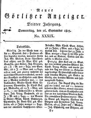 Neuer Görlitzer Anzeiger vom 26.09.1805