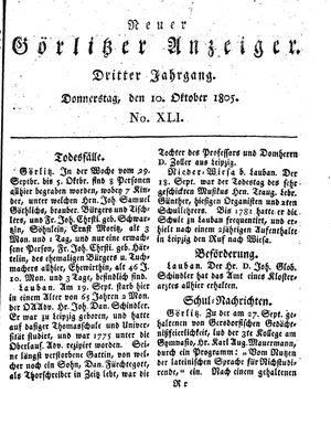 Neuer Görlitzer Anzeiger vom 10.10.1805