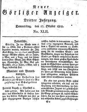 Neuer Görlitzer Anzeiger vom 17.10.1805