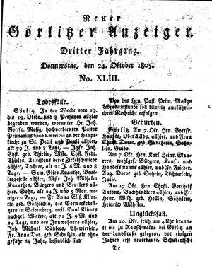 Neuer Görlitzer Anzeiger vom 24.10.1805