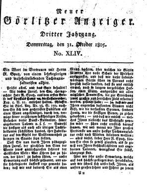 Neuer Görlitzer Anzeiger vom 31.10.1805