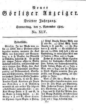 Neuer Görlitzer Anzeiger vom 07.11.1805