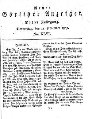 Neuer Görlitzer Anzeiger vom 14.11.1805