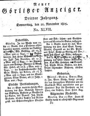 Neuer Görlitzer Anzeiger vom 21.11.1805