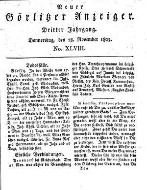 Neuer Görlitzer Anzeiger vom 28.11.1805