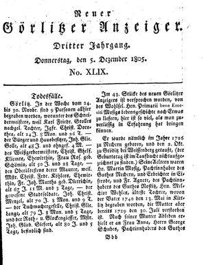 Neuer Görlitzer Anzeiger vom 05.12.1805