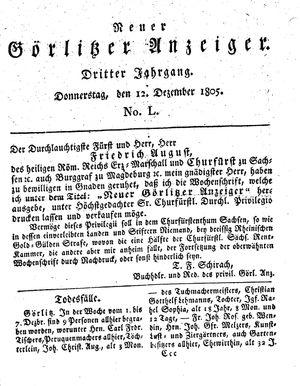 Neuer Görlitzer Anzeiger vom 12.12.1805
