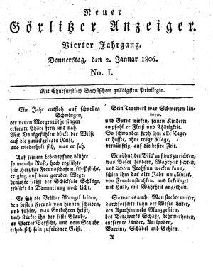 Neuer Görlitzer Anzeiger vom 02.01.1806