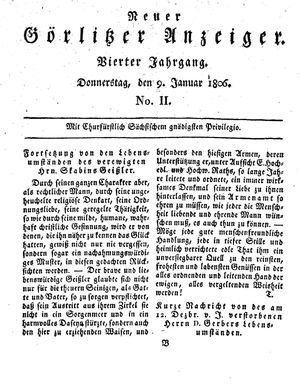 Neuer Görlitzer Anzeiger vom 09.01.1806