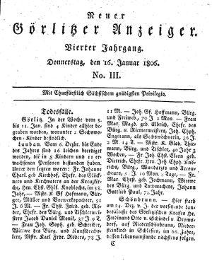 Neuer Görlitzer Anzeiger vom 16.01.1806