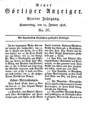 Neuer Görlitzer Anzeiger vom 23.01.1806