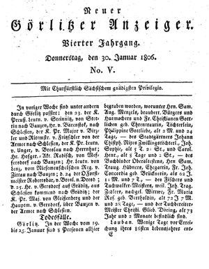 Neuer Görlitzer Anzeiger vom 30.01.1806