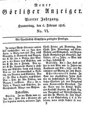 Neuer Görlitzer Anzeiger vom 06.02.1806