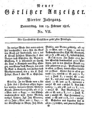 Neuer Görlitzer Anzeiger vom 13.02.1806