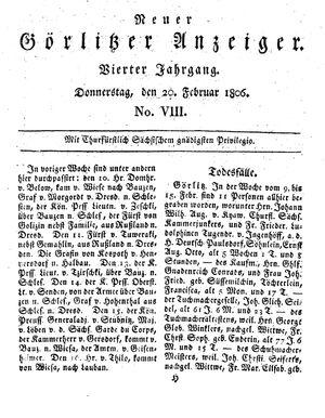Neuer Görlitzer Anzeiger vom 20.02.1806