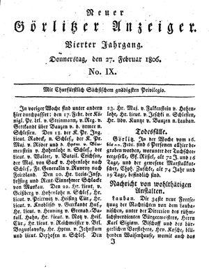 Neuer Görlitzer Anzeiger vom 27.02.1806
