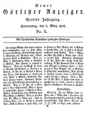 Neuer Görlitzer Anzeiger vom 06.03.1806