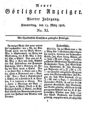 Neuer Görlitzer Anzeiger vom 13.03.1806