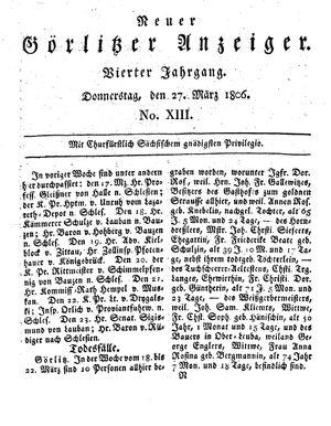Neuer Görlitzer Anzeiger vom 27.03.1806