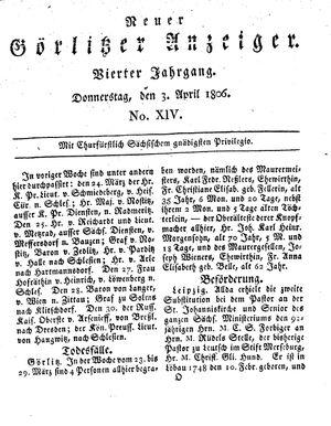 Neuer Görlitzer Anzeiger vom 03.04.1806