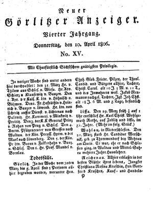 Neuer Görlitzer Anzeiger vom 10.04.1806