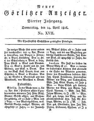 Neuer Görlitzer Anzeiger vom 24.04.1806